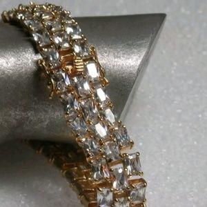 Jewelry - Gold over 925 Sterling Silver Zircon Bracelet